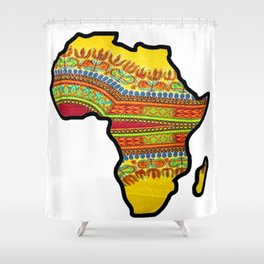 Gold Dashiki Africa Map Shower Curtain