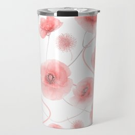 seamless  pattern of Poppy Flowers Travel Mug