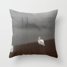 Three Swans and a Power Station Throw Pillow