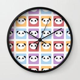Kawaii Panda Pop Pattern Wall Clock