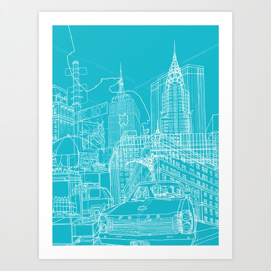 New York! Blueprint Art Print
