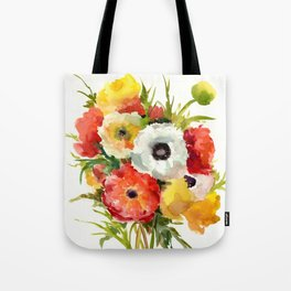 Flowers, Buttercups, orange red white yellow garden floral design Tote Bag