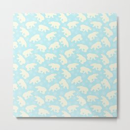 Polar bear pattern on wintry ice aqua background Metal Print