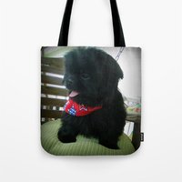 patriotic Tote Bags featuring Patriotic Pup  by Rainey's View