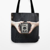 vintage camera Tote Bags featuring Vintage Camera by Maria Heyens