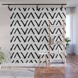Classic vintage seamless pattern with zigzag triangles, texture grunge crayons ink. black on White Wall Mural