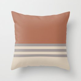 Slate Violet Gray SW9155 and Creamy Off White SW7012 Horizontal Stripes on Cavern Clay SW 7701 Throw Pillow