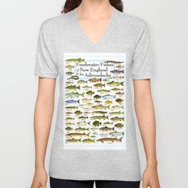 Illustrated New England and  Adirondacks Game Fish Identification Chart Unisex V-Neck