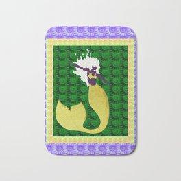 Retro Mermaid Texture Print in Green, Peach, Lavender and Lime Bath Mat