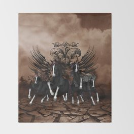 Awesome wild horses Throw Blanket
