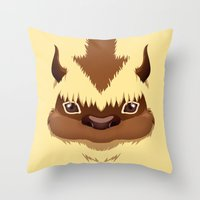appa Throw Pillows featuring Big Fluffy Thing by Cristina Jiménez Burgos