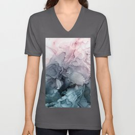 Blush and Payne's Grey Flowing Abstract Painting Unisex V-Ausschnitt
