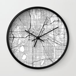 Minneapolis Map White Wall Clock