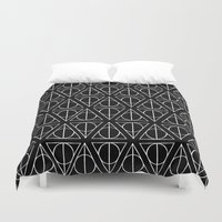 deathly hallows Duvet Covers featuring Hand Drawn Deathly Hallows // white  by Milly Scarlett