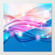 Modern Pink and Blue Sparkle Streamers Canvas Print