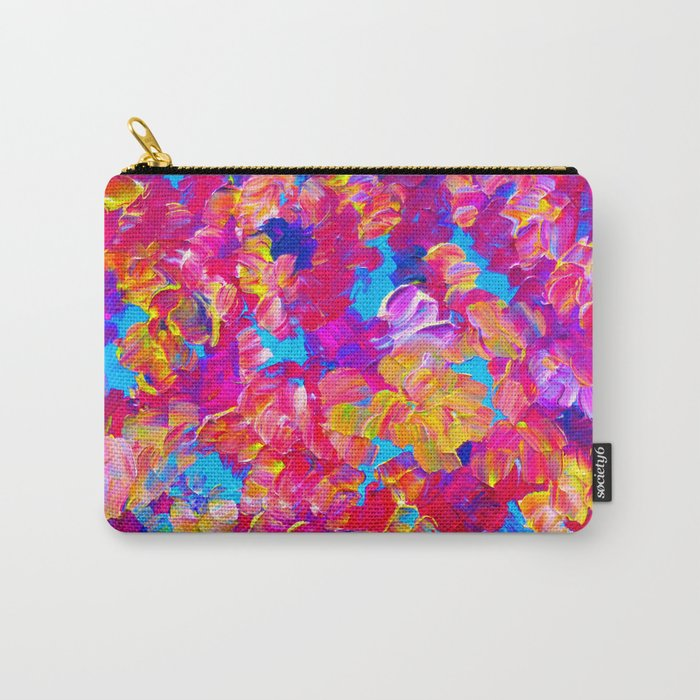 Floral Fantasy Bold Abstract Flowers Acrylic Textural Painting Neon Pink Turquoise Feminine Art Carry All Pouch By Ebiemporium