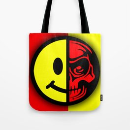 Smiley Face Skull Yellow Red Shadow Tote Bag
