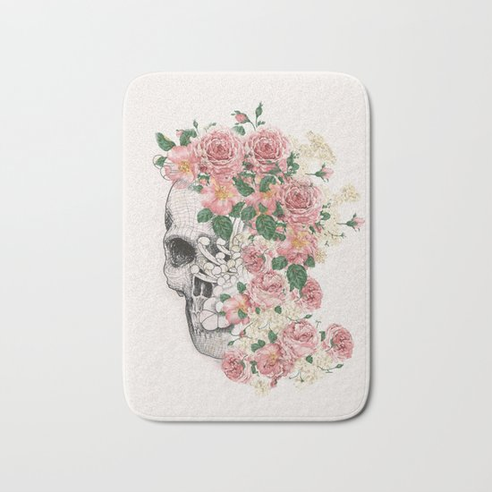 Flowers skull Bath Mat