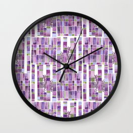 violet garden checkerboard pattern Wall Clock