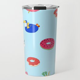 Summer pattern with cats playing in the pool Travel Mug