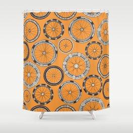 bike wheels amber Shower Curtain