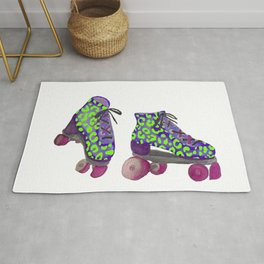 Neon Green Spotted Roller Skates Rug