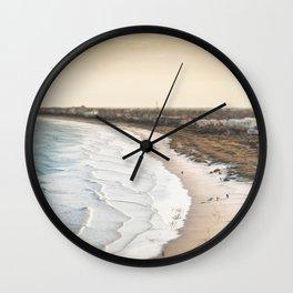 colorful, coastal, airial beach sunset photography, California boho art / print Wall Clock
