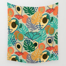 Monstera, fruits and flowers Wall Tapestry