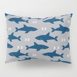 Sharks and chevrons minimal basic nursery baby home decor pattern nautical ocean Pillow Sham