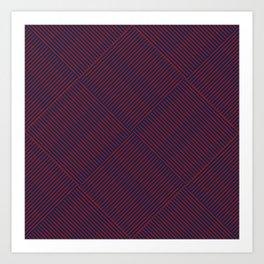 Cris Cross Red Weave on Blue Art Print