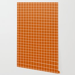Burnt orange - orange color - White Lines Grid Pattern Wallpaper