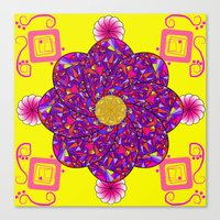 psychadelic Canvas Prints featuring Psychadelic Flora by Cynthia Squire