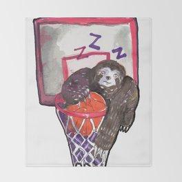 sloth playing basket Throw Blanket