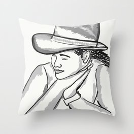 Cowgirl Portrait of a Woman in Love Throw Pillow