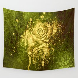 golden rose on green Wall Tapestry