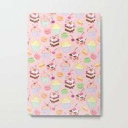 sweet pattern aka cake , cupcake and macaroon Metal Print