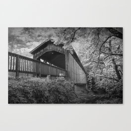 Black & White Photograph of the Covered Bridge on the Thornapple River in Ada Michigan Canvas Print