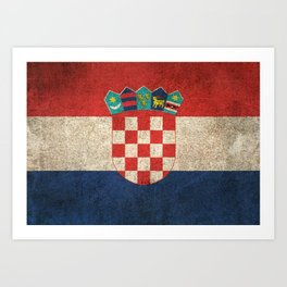 Old and Worn Distressed Vintage Flag of Croatia Art Print