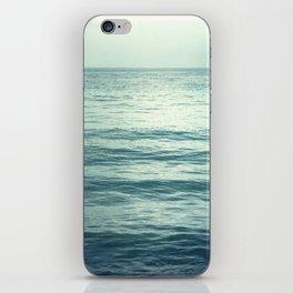 Seascape Photography, Teal Ocean Art, Dark Turquoise Minimal Sea Photo, Blue Ocean Coastal Print iPhone Skin