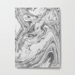 Akio - black and white grey minimal modern abstract marble painting retro minimalism urban bklyn Metal Print