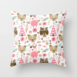 Pink Boho Animals Throw Pillow