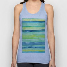 Spring Colors Stripes Pattern Blue Green Yellow Unisex Tank Top