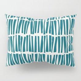Turquoise Vertical Dash Stripe Line Pattern Sherwin Williams Trending Colors of 2019 Oceanside Dark Aqua Blue SW 6496 on Off White Pillow Sham