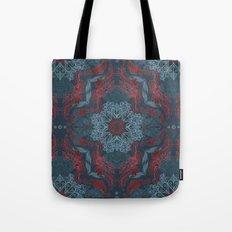 Vintage Fancy - a Pattern in Deep Teal & Red Tote Bag