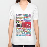pewdiepie V-neck T-shirts featuring Youtube Colored Collage by emma