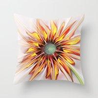 sunflower Throw Pillows featuring Sunflower by Klara Acel
