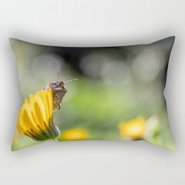 Funny insect on yellow flower Rectangular Pillow