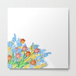 Watercolor tulip and forget-me-not Metal Print