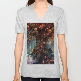 Magnificent Big Marvelous Magic Glowing Fairytale Forest Tree Light Bulbs Dreamland Ultra HD Unisex V-Neck