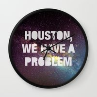 houston Wall Clocks featuring Houston by Text Guy